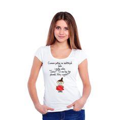 T-shirt damski z nadrukiem Mała Mi- Czasem patrzę na niektórych ludzi.. (mała mi kolor)