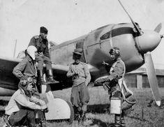 Smoke break pilots 848 IAP in La-5F fighter at an airfield in Yambol Bulgaria