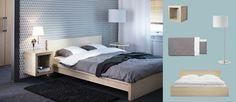 Koivuviiluinen MALM-sänky, koivukuvioitu EXPEDIT-hylly ja STOCKHOLM-lattiavalaisin