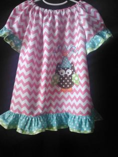 Peasant Dress Girls Pink and White Chevron Appliqed Owl with Birthday Party Hat Custom size 6 months to size 8 on Etsy, $54.00
