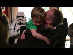 This father returned home early from Afghanistan and surprised his son by dressing up as a Jedi!