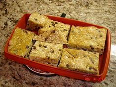 Homemade Protein Bars. Replace peanut butter with almond butter, add craisins, chop the chocolate chips, replace agave with honey