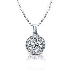 14k White Gold 1 4ct TDW Diamond Halo Necklace (I-J ee4b5690bc49c