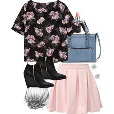 """Lydia Inspired Outfit with a Pink Skater Skirt"" by veterization on Polyvore"