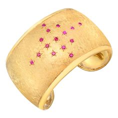DANIEL BRUSH Gilt & Gem-Set Cuff Bracelet. 21st Century