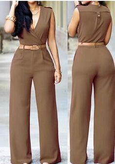 Women Wide Leg Pants Jumpsuit Sleeveless V Neck Rompers Full Length Casual Monos Belted Clubwear Bandage Bodysuit 10 Colors