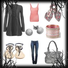 Pinks and silver - Casual outfit created with Polyvore