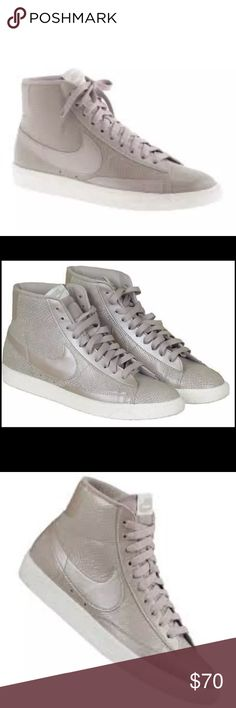 Nike for J.Crew Womens Blazer Mid Vintage Sneakers Nike for J.Crew Womens Blazer Mid Vintage Sneakers in Orewood Size 9  WOMEN'S NIKE® FOR J.CREW BLAZER MID VINTAGE SNEAKERS. SIZE: 9M COLORS: OREWOOD. THESE HARD-TO-FIND SNEAKERS FROM ONE OF THE MOST ICONIC ATHLETIC SHOE BRANDS. THE BLAZER WAS NIKE'S FIRST-EVER BASKETBALL SHOE—IT MADE ITS DEBUT IN 1973 AND HAS BEEN LOVED FOR ITS SIMPLE, VERSATILE DESIGN EVER SINCE. LEATHER UPPER. RUBBER SOLE.   FAIRLY NEW IN J.CREW BOX. FROM J.CREW RETAIL…