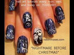 A NIGHTMARE BEFORE CHRISTMAS NAILS: robin moses nail art design tutorial