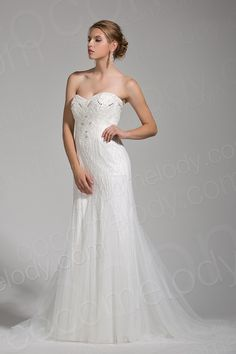 Delicate Trumpet-Mermaid Sweetheart Tulle Ivory Sleeveless Wedding Dress with Beading and Crystal AWZT15003 $838.20 wedding dress, wedding dress, wedding dress, wedding dress, wedding dress