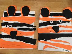 Made using cutting, glueing and patterns skills Preschool Art Projects, Preschool Art Activities, Preschool Colors, Jungle Activities, Tiger Crafts, Bird Crafts, Jungle Art, Jungle Animals, Jungle Theme Crafts