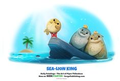 Cute and funny art by Cryptid-Creations Daily Sea-Lion King by Cryptid-Creations on DeviantArt Cute Animal Drawings, Kawaii Drawings, Cute Drawings, Animal Puns, Funny Animals, Cute Animals, Animal Food, Wild Animals, Baby Animals