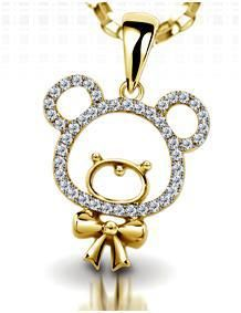 """Bear""...only $1,800 or P79,200!! Designer 0.86ctw Diamond Teddy Pendant / 4.268gms / 14K! Imported, world-class quality, not pre-owned, not pawned, not stolen. We deliver worldwide <3"