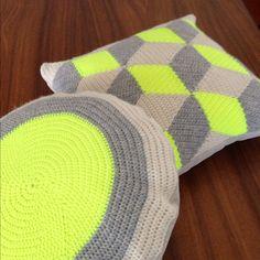 Neon Yellow Round Crochet Pillow / Cushion.