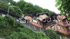 4k Traditional buildings in Hallstatt mountain alps village - Stock Footage   by Beckhusen