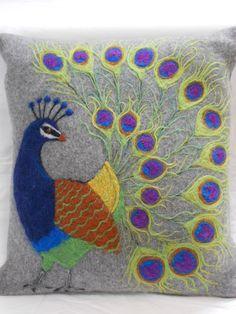 Felt Pillow Peacock by SleepyParrotFeltDsgn on Etsy, $85.00