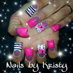 Hot pink 3d bows white airbrush hand painted nail art stripes black kisses lips polka dots acrylic c cute curved nails by Kristy pureplatinumsalonandspa pureplatinumsalon.net