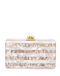 Jean Striped Box Clutch, Nude/White by Edie Parker at Neiman Marcus.