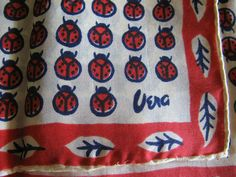"Vintage Early Vera Neuman Scarf 958 Lady Bugs 17 x 17"" Pure Silk Hand Rolled Tag 