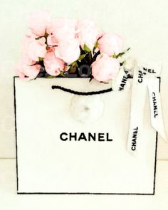 Chanel Shopping Bag with Pink Roses: A Fashion Watercolor Fine Art Photographic Print for the Fashionista, Chanel Home Decor