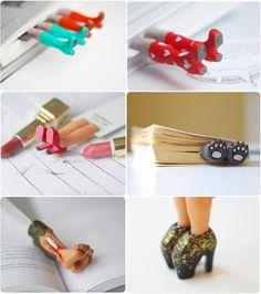marcadores fofos, com um pedaço de papel cartão, biscuit e criatividade dá pra fazer diversos modelos!
