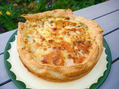 Gezonde variant: -1 rol bladerdeeg kant en klaar -5 eieren -200ml halfvolle melk -70g geitenkaas natuur -4 gedroogde dadels in kleine stukjes -(kastanje)champignons gestoofd met 2 sjalotten   Bereiding:  Eieren en melk mengen, gestoofde champignons, ui, gebrokkelde geitenkaas, stukjes dadel toevoegen, peper en zout. Bakken in een voorverwarmde oven van 180-200°C 40min  Lekker met rauwkost. Smakelijk!