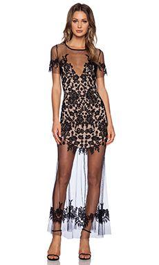 For Love & Lemons Luau Maxi Dress en Negro & Nude