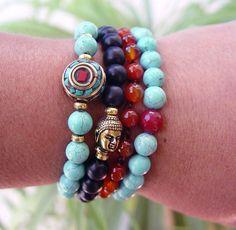 Yoga Bracelet Mala Bracelet Beaded Bracelet Boho by UrbanCorner, $28.00
