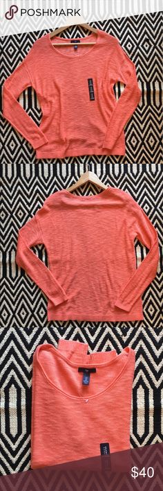 Gap sweater, orange, lightweight NWT. Gap orange sweater. Size: S. 60% cotton, 40% viscose. Lightweight. Measurements pictured. GAP Sweaters Crew & Scoop Necks