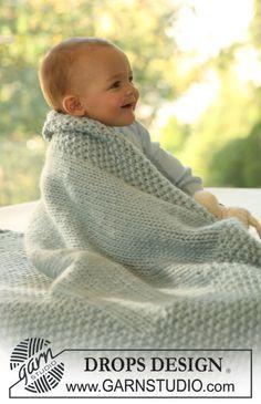 Couverture DROPS au tricot en « Eskimo » ~ DROPS Design