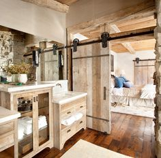Designing a trendy bathroom in your home with a rustic barn interior can create a warm and welcoming bathroom oasis you will never want to leave.