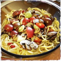Quinoa pasta with heirloom cherry tomato and crimini mushrooms, plus a touch of herbs de provance with celtic sea salt. @};~
