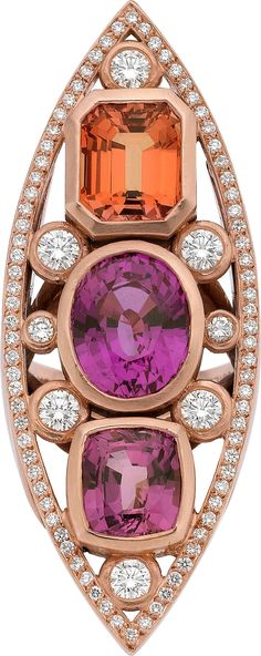 Jewels / karen cox.  Sapphire, Diamond, and Rose Gold Ring,HT