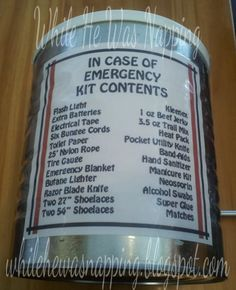 In Case Of Emergency Kit - great gift idea for the hard to buy for men in your life. The kit can be kept in many different places, not just the car. Emergency Bag, In Case Of Emergency, Emergency Preparedness, Survival Kits, Family Emergency, Survival Quotes, Diy Father's Day Gifts Easy, Simple Gifts, 72 Hour Kits