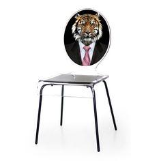 Besoin d'exotisme et de fantaisie. Cette chaise portrait tigre dynamisera votre intérieur par son originalité et son excentricité