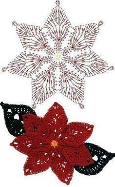 How to Crochet a Puff Flower Poinsettia Crochet Flower Motifs / 포인세티아 코바늘 플라워 모티브도안 // людмила донская Crochet Puff Flower, Crochet Flower Tutorial, Crochet Leaves, Crochet Snowflakes, Crochet Flower Patterns, Crochet Flowers, Knitting Patterns, Crochet Ideas, Crochet Christmas Decorations