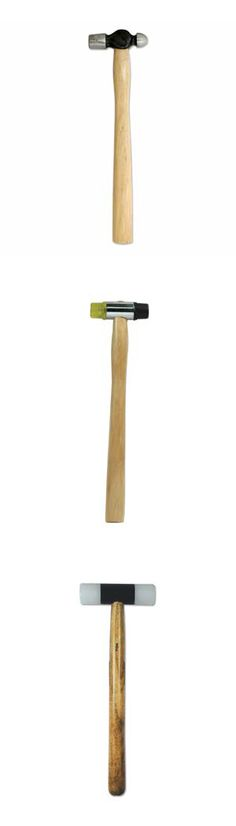 Jewelry hammers: Top to bottom, Ball Pein Hammer, Dual Faced Plastic/Rubber Hammer, Non-marring Nylon Hammer