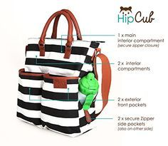 Diaper Bag by Hip Cub - Plus Matching Baby Changing Pad - Black and White Stripe Designer Cotton Canvas W/ Cute Tan Trim