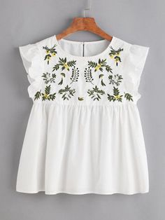 SheIn offers Flower Embroidered Buttoned Keyhole Ruffle Babydoll Top & more to fit your fashionable needs. Ruffle Collar Blouse, White Ruffle Blouse, Embroidered Blouse, Ruffle Top, Sleeveless Blouse, Floral Blouse, Embroidered Flowers, Ruffles, Mode Style