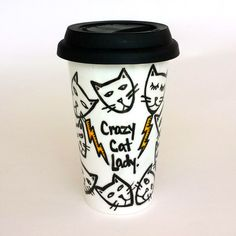 Ceramic Travel Mug Crazy Cat Lady Kitten Heads hand painted by sewZinski
