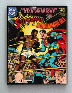"""hevelincollection: """"Here is a comic book one of our student workers stumbled upon just the other day: Superman Vs. In Superman Vs. Muhammad Ali, Superman and Ali work together to save. Mohamed Ali, Dc Comics, Planet Comics, Black Comics, Dc Comic Books, Comic Book Covers, Marvel Vs, Beatles, Comic Superman"""