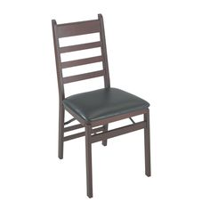 Ladder back Folding Dining Chair with Vinyl Seat