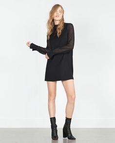 SHEER SLEEVE DRESS WITH TIE-UP NECKLINE-Mini-Dresses-WOMAN | ZARA United States