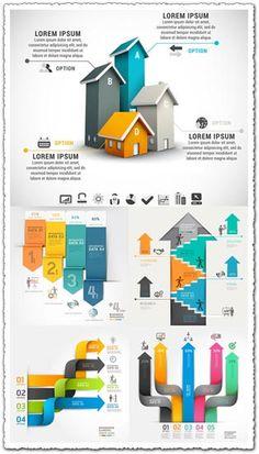Modern infographics arrows vector