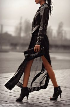 Sheer black & ankle boots