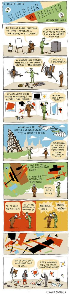 The Last Futurist Painting Exhibition of 1915 was fast approaching. Kazimir Malevich and Vladimir Tatlin, two notable figures in the Russian avant-garde, vied for ways to outdo each other. (cartoon by Grant Snider)