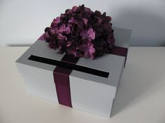 Gray Wedding Card Box-Shown with Lavender Eggplant  Plum Dark Purple Hydrangea Can Customize Flowers and Colors