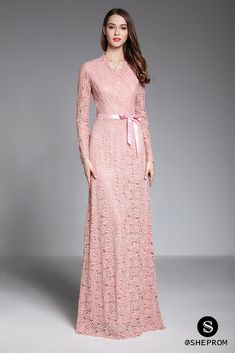 Shop Pink Long Sleeve Lace Formal Evening Dress With Sash online. SheProm offers formal, party, casual & more style dresses to fit your special occasions. Hijab Evening Dress, Formal Evening Dresses, Bright Pink Dresses, Dress Brokat, Vestido Casual, Mode Hijab, Schneider, Trendy Dresses, The Dress