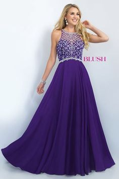 Stunning chiffon Aline gown that features a crystal beaded bodice and a Jewel neckline. Side zipper closure.