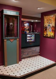 Home theater ticket booth & candy concession countet! Home theater ticket booth & candy concession countet! Theater Room Decor, Movie Theater Rooms, Home Theater Setup, Best Home Theater, Home Theater Speakers, Home Theater Projectors, Home Theater Design, Home Theater Seating, Cinema Room